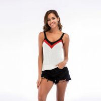 Women's Camisole Tops V-neck Sexy White Knitting Vest