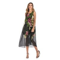 Black Summer Chiffon Maxi Dress Red Peonies Print