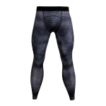 Men's Compression Pants Grey Snake Skin Workout Tights