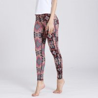 Printed Yoga Leggings Women's Dark Red Pants