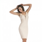 Women's Bodycon Party Dress Apricot V-Neck Knitwear Dresses
