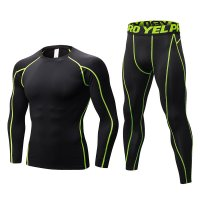 Men's Workout Clothes LS Black Green Fitness Athletic Gym Suits