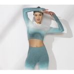 Women's Yoga Crop Top Long Sleeve Green Seamless Workout Shirts [20190125-4]