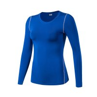 Women's Yoga Shirts Long Sleeve Gym Blue Quick Dry Workout Tops