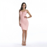 Women's Bodycon Party Dress Pink V-Neck Knitwear Dresses