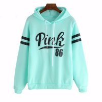 Women's Pullover Hoodies Fashion Green Alphabet Printed Sweatshirts