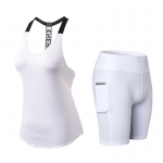 Women's Yoga Clothes Tank Tops White Shorts With Side Pockets Yoga Suits