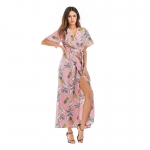 Women's Maxi Dresses Chiffon Pink Bohemian Long Beach Dress