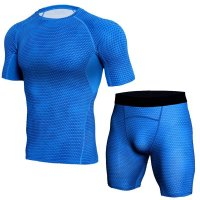 Men's Blue Compression Shorts Snake Skin And Top Outfit
