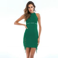 Women's High Waist Bodycon Dress Green Knitwear High Neckline Dresses