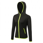 Women's Yoga Zip Up Jacket Black Green With Thumb Holes Workout Hoodie [20181010-4]
