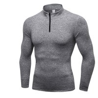 Men's Running Quarter Zip Pullover Grey Velvet Gym Tops Workout Jacket
