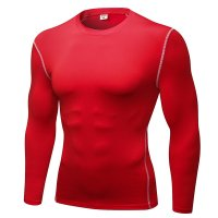 Men's Workout Tops Red Long Sleeve Bodybuilding Fitness Gym Shirts