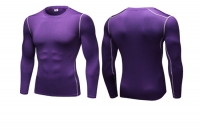 Men's Workout Tops Purple Long Sleeve Bodybuilding Fitness Gym Shirts [20180921-3]