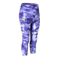 Women's Workout Capri Leggings With Side Pockets Purple Gym Yoga Pants
