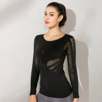 Women's Yoga Tops Long Sleeve Mesh Seamless Black Workout Tees