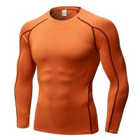 Men's Fitness Gym Tops Orange Long Sleeve Bodybuilding Workout Shirts