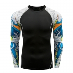 Men's Gym Shirts Long Sleeve Black&White Workout Top