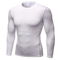 Men's Workout Tops White Long Sleeve Bodybuilding Fitness Gym Shirts