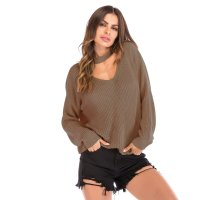 Women's Brown Long Sleeve Knit Tops V Neck Loose Shirt