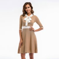 Women's Party Dress Half Sleeve Slim Fit Bow Tie Knitting Khaki Skirt