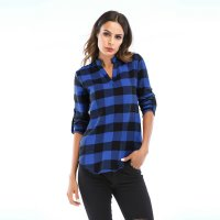 Women's Plaid Shirts Blue And Black Roll Up Sleeves Loose Top