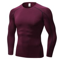 Men's Fitness Gym Tops Claret Long Sleeve Bodybuilding Workout Shirts