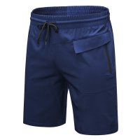 Men's Navy Running Shorts Zipper Side Pocket