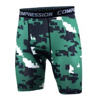 Men's Compression Shorts Green Pixel Pattern Gym Leggings
