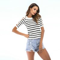 Women's Casual Tops Short Sleeve Thin Hollow Out White Stripes Tee