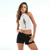 Women's Sleeveless Tops Summer Short White Sexy Knit Vest