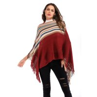 Women's Tassel Poncho Claret Vintage Fringe Assorted Color Capes