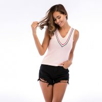 Women's T-shirt Summer Knitwear Pink Sleeveless V-neck Vest
