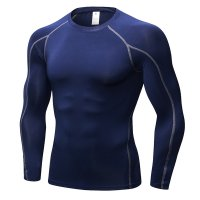 Men's Fitness Gym Tops Navy Long Sleeve Bodybuilding Workout Shirts