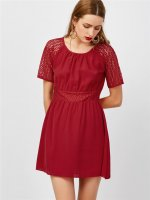 Women's Shirt Dress Short Sleeve Chiffon Claret A-line Skirt