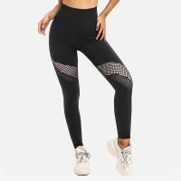 Black Mesh Cutout Leggings Women's Gym Pants