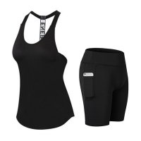 Women's Yoga Clothes Tank Tops Black Shorts With Side Pockets Yoga Suits
