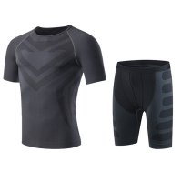 Men's Gym Clothes Black Grey Bodybuilding Workout Fitness Suits