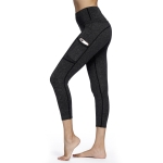 Women's Yoga Pants With Pockets For Phone Dark Grey High Waist Workout Leggings [20180904-7]