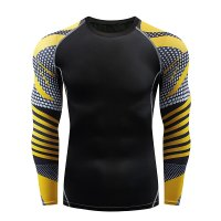 Men's Long Sleeve Fitness Top Black&Yellow Athletic Shirt