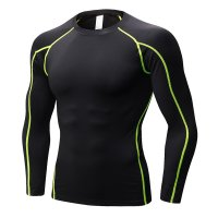 Men's Fitness Gym Tops Black Green Long Sleeve Bodybuilding Workout Shirts