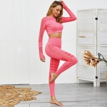 Women's Workout Pants Red And LS Cropped Top Gym Outfit [20191101-1]