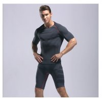 Men's Gym Clothes Black Red Bodybuilding Workout Fitness Suits