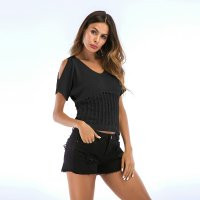 Women's Knitting Shirt Thin Strapless V-neck Knitwear Black Top