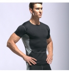 Men's Athletic Fit T-Shirts Muscle Fit Shirt Black Running Gym Workout Tops [20181031-6]