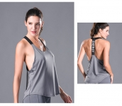 Women's Yoga Tank Tops Grey Quick Dry Fitness Gym Workout Vest [20180922-2]