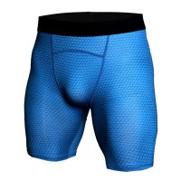 Men's Compression Shorts Blue Snake Skin Running Leggings