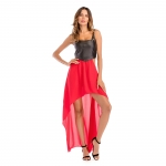 Women's Prom Dress Black Leather Tank Tops With Red Chifforn Dress