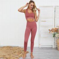 Women's Yoga Leggings And Red Sports Bra Set