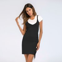 Women's Bodycon Dress Knitwear V-Neck Black Lady Dresses